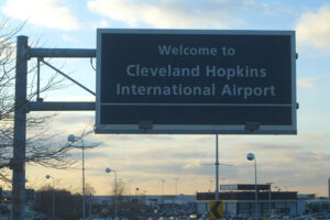 Cleveland Hopkins International Airport (CLE) Welcome Sign. Photo by Nick Juhasz | GoHopkins.com | Hopkins Transportation Services Inc.